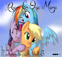 Size: 932x857 | Tagged: safe, artist:batsofchaos, applejack, rainbow dash, twilight sparkle, appledash, appledashlight, cover, female, lesbian, shipping, twidash, twijack