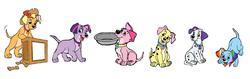 Size: 1024x324 | Tagged: safe, applejack, fluttershy, pinkie pie, rainbow dash, rarity, twilight sparkle, dog, 101 dalmatians, appledog, collar, cutie mark collar, disney, dogified, flutterdog, mane six, puppy, puppy pie, rainbow dog, raridog, species swap, twilight barkle