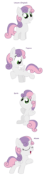 Size: 992x4008 | Tagged: alicorn, alicornified, all pony races, artist:pupster0071, earth pony, female, filly, pegasus, pony, race swap, safe, shrug, simple background, singing, sweetie belle, sweetiecorn, unicorn, white background, xk-class end-of-the-world scenario