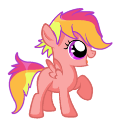 Size: 496x524 | Tagged: safe, artist:unoriginai, oc, oc only, oc:spectrum sprint, pegasus, pony, blank flank, magical lesbian spawn, offspring, parent:rainbow dash, parent:scootaloo, parents:scootadash, simple background, solo, white background