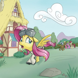 Size: 640x640   Tagged: safe, artist:giantmosquito, daisy, flower wishes, fluttershy, gilda, lily, lily valley, roseluck, griffon, ask, ask-dr-adorable, dr adorable, flower trio, goggles, tumblr