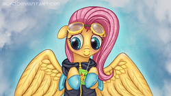 Size: 1920x1080   Tagged: safe, artist:el42, artist:eltaile, artist:xn-d, fluttershy, pegasus, pony, blushing, bunny ears, clothes, cute, dangerous mission outfit, female, flutterspy, goggles, hoodie, juice, juice box, mare, smiling, solo, spy
