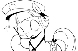 Size: 1023x672 | Tagged: safe, artist:moka, tag-a-long, earth pony, pony, blushing, clothes, digital art, eyes closed, female, filly, filly guides, filly scouts, grayscale, monochrome, open mouth, simple background, smiling, solo, thin mint, white background
