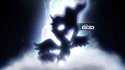 Size: 1920x1080 | Tagged: safe, artist:adrianimpalamata, artist:flizzick, princess luna, pony, bipedal, female, glare, glowing eyes, god, goddess, i am a god, kanye west, lightning, raised hoof, rearing, solo, song reference, space, spread wings, stars, vector, wallpaper, yeezus
