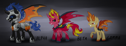 Size: 1477x541 | Tagged: alicorn, artist:wolframclaws, bat pony, bat pony alicorn, corrupted, demon, equestria girls ponified, flash sentry, ponified, pony, prince flash sentry, safe, snails, snailsicorn, sunset satan, sunset shimmer
