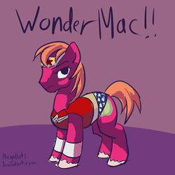 Size: 2550x2550 | Tagged: artist:megaherts, big macintosh, clothes, costume, crossdressing, crossover, earth pony, male, pony, safe, solo, stallion, wonderous man, wonder woman