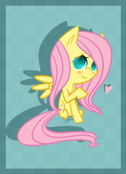 Size: 1024x1408 | Tagged: safe, artist:astrequin, fluttershy, :>, blushing, cute, heart, looking at you, raised hoof, shyabetes, smiling, solo, spread wings