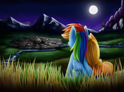 Size: 1200x887   Tagged: safe, artist:xioade, applejack, rainbow dash, earth pony, pegasus, pony, appledash, canterlot, city, cuddling, cute, featured image, female, field, grass, lesbian, moon, mountain, night, on side, river, scenery, shipping, sitting, sky, snuggling, town