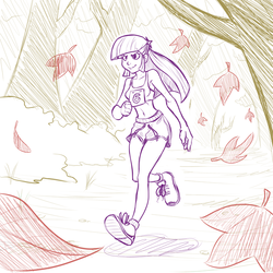 Size: 700x700 | Tagged: safe, artist:romanrazor, twilight sparkle, human, autumn, belly button, clothes, confident, female, forest, gym shorts, humanized, leaves, midriff, running, running of the leaves, running shorts, scene interpretation, shoes, shorts, side slit, sketch, smiling, sneakers, solo, sports bra, tomboy, tree, upshorts