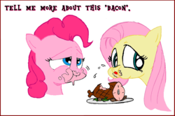 Size: 1119x745   Tagged: safe, artist:andypriceart, fluttershy, pinkie pie, ham, meat, ponies eating meat, recolor, this will end in sickness