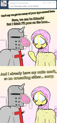 Size: 1000x2160   Tagged: safe, fluttershy, earth pony, pony, unicorn, ask islamashy, armor, blushing, christianity, clothes, cross, crusader, dialogue, fantasy class, female, frown, ham, helmet, hijab, islam, islamashy, knight, looking down, mare, meat, nervous, nom, open mouth, paladin, ponies eating meat, pork, smiling, sweatdrop, sword, text, tumblr, warrior, weapon