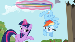 Size: 1920x1080 | Tagged: safe, screencap, rainbow dash, twilight sparkle, lesson zero, duo, frown, goggles, lidded eyes, magic, open mouth, out of context, smiling, telekinesis