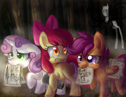 Size: 3850x2975 | Tagged: safe, artist:annakitsun3, apple bloom, scootaloo, sweetie belle, crossover, cutie mark crusaders, dark, forest, mouth hold, scared, slendermane, slenderpony, video game