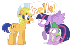 Size: 1140x720 | Tagged: safe, artist:dm29, idw, flash sentry, spike, twilight sparkle, alicorn, dragon, pegasus, pony, backwards cutie mark, confused, eye contact, female, flashlight, frown, hello, looking at each other, male, mare, meme, raised hoof, screaming armor, screaming sentry, shipping, simple background, smooth, speech bubble, spread wings, stallion, straight, transparent background, trio, twilight sparkle (alicorn), wide eyes, wings