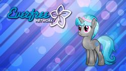 Size: 2560x1440 | Tagged: safe, artist:game-beatx14, artist:theshadowstone, edit, oc, oc only, oc:star flower, crystal pony, pony, unicorn, crystallized, everfree network, logo, solo, wallpaper, wallpaper edit