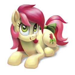Size: 1861x1865 | Tagged: safe, artist:kaermter, roseluck, earth pony, pony, bow, commissioner:doom9454, cute, cuteluck, cutie mark, female, hooves, lineless, mare, prone, scrunchy face, simple background, smiling, solo, tail bow, transparent background