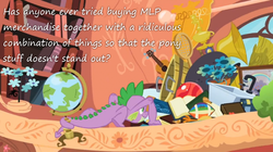 Size: 800x447 | Tagged: safe, edit, edited screencap, screencap, spike, dragon, secret of my excess, american football, book, bookshelf, flower, globe, greed spike, guitar, hoard, insane pony thread, male, sink, text, trophy