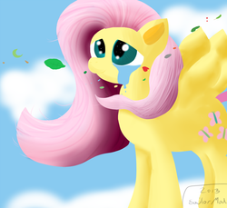 Size: 800x733 | Tagged: artist:sailormod, cloud, cloudy, crying, emotional, fluttershy, joy, sad, safe, sky, solo