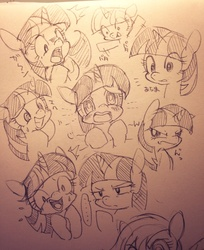 Size: 836x1024   Tagged: safe, artist:mosamosa_n, twilight sparkle, facial expressions, japanese, monochrome, pixiv, sketch, sketch dump, solo, traditional art