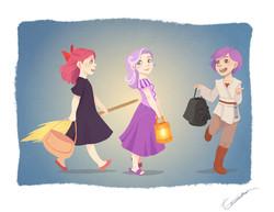 Size: 990x765 | Tagged: safe, artist:vasira, apple bloom, scootaloo, sweetie belle, human, clothes, costume, cutie mark crusaders, disney, disney princess, dress, humanized, jedi, kiki, kiki's delivery service, princess, rapunzel, reference, skirt, star wars, tangled (disney), witch