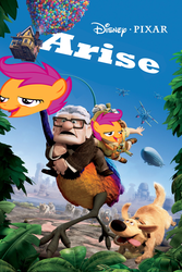 Size: 1067x1600 | Tagged: carl fredricksen, chickun, disney, edit, meme, movie poster, pixar, safe, scootaloo, up