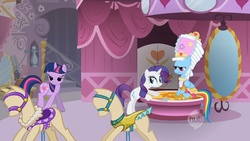 Size: 1920x1080 | Tagged: bedroom eyes, bridle, carousel boutique, clothes, costume, dress form, dressup, ei, grin, hubble, hub logo, indoors, interior, lidded eyes, mannequin, out of context, pins, powdered wig, rainbow dash, rainbow dash always dresses in style, rarity, saddle, safe, screencap, swarm of the century, twilight sparkle, wig, worried