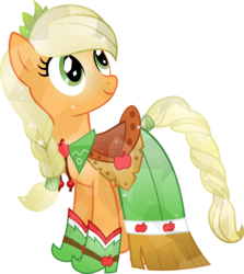 Size: 4902x5500 | Tagged: absurd res, applejack, artist:theshadowstone, clothes, crystallized, dress, gala dress, looking back, safe, simple background, solo, transparent background, vector