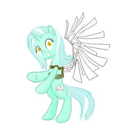 Size: 600x600 | Tagged: safe, artist:hudoyjnik, artist:synch-anon, lyra heartstrings, solo, wings