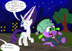 Size: 2338x1658   Tagged: safe, artist:seriousdog, rarity, spike, bride of frankenstein, clothes, costume, female, frankenstein's monster, male, nightmare night, shipping, sparity, straight