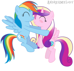 Size: 3253x3132 | Tagged: safe, artist:andreamelody, princess cadance, rainbow dash, age regression, blushing, cadash, female, happy, lesbian, shipping, simple background, transparent background, vector