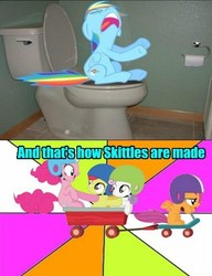 Size: 449x586 | Tagged: safe, artist:snakeman1992, apple bloom, pinkie pie, rainbow dash, scootaloo, sweetie belle, sonic rainboom (episode), the cutie mark chronicles, and that's how equestria was made, but why, cutie mark crusaders, implied pooping, my life is ruined, potty, potty time, scooter, skittles, sonic rainboom, toilet, wagon, why