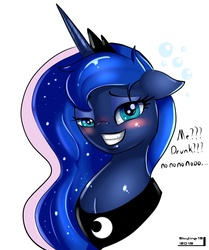 Size: 1823x2179 | Tagged: safe, artist:skyart301, princess luna, pony, bubble, bust, dialogue, drunk, drunk luna, female, floppy ears, grin, lidded eyes, looking at you, mare, portrait, simple background, smiling, solo, squee, talking to viewer, text, white background