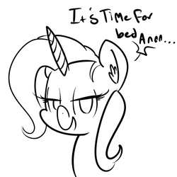 Size: 1600x1600 | Tagged: safe, artist:whydomenhavenipples, trixie, pony, unicorn, bedroom eyes, female, lineart, looking at you, mare, monochrome, open mouth, portrait, smiling, solo
