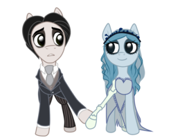 Size: 800x650 | Tagged: artist:cat-cly, clothes, corpse bride, emily, ponified, safe, suit, the corpse bride, victor, victor van dort
