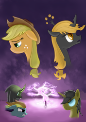 Size: 2480x3507 | Tagged: safe, artist:plainoasis, applejack, rainbow dash, oc, oc:hyacinth, oc:vigil, changeling, changeling queen, fanfic:the irony of applejack, brown changeling, bust, changelingified, fanfic, fanfic art, portrait, poster
