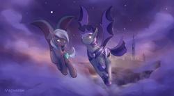 Size: 1612x892 | Tagged: safe, artist:mechagen, oc, bat pony, pony, bat pony oc, bat wings, cloud, duo, ear fluff, female, flying, male, mare, night, night guard, night sky, sky, spread wings, stallion, wings