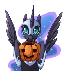 Size: 1000x1084 | Tagged: safe, artist:grasspainter, nightmare moon, alicorn, pony, cute, female, halloween, holiday, jack-o-lantern, looking at you, mare, mouth hold, nicemare moon, nightmare night, pumpkin, pumpkin bucket, simple background, smiling, solo, spread wings, transparent background, trick or treat