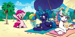 Size: 2000x1000   Tagged: safe, artist:kp-shadowsquirrel, artist:kp-shadowsquirrel edits, pinkie pie, princess celestia, princess luna, rainbow dash, alicorn, earth pony, pegasus, pony, alternate hairstyle, beach, beach ball, big no, blue feather, cloud, cup, drink, drinking, feather, female, floppy ears, hiding, ice cream, ice cream cone, magic, mare, missing accessory, palm tree, ponytail, royal sisters, sand, sky, straw, telekinesis, tree, umbrella, unhappy, wide eyes