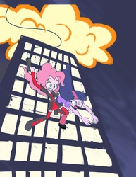 Size: 2550x3300 | Tagged: safe, artist:khuzang, pinkie pie, twilight sparkle, equestria girls, action pose, city, cityscape, clothes, costume, deadpool, explosion, falling, marvel, pinkiepool