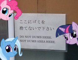 Size: 540x419 | Tagged: engrish, japanese, pinkie pie, reaction image, safe, translated in the comments, trixie, twiface, twilight sparkle, wrong neighborhood