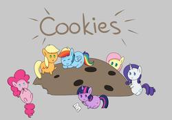 Size: 5000x3500 | Tagged: safe, artist:verminshy, applejack, fluttershy, pinkie pie, rainbow dash, rarity, twilight sparkle, blob, cookie, food, mane six, micro