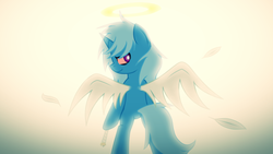 Size: 4893x2753 | Tagged: absurd res, artist:he4rtofcourage, ask-stoned-trixie, bipedal, halo, pony, rest in peace, safe, solo, stoned trixie, trixie
