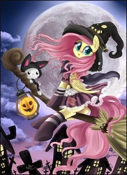 Size: 2851x3913 | Tagged: safe, artist:pridark, angel bunny, fluttershy, pegasus, pony, :o, broom, building, butt, cape, catsuit, clothes, cloud, cloudy, costume, cross, cute, female, flutterbutt, flying, flying broomstick, full moon, halloween, hat, jack-o-lantern, lantern, lidded eyes, looking back, mare, moon, night, night sky, open mouth, plot, pumpkin, sexy, shyabetes, sitting, socks, underhoof, witch, witch hat