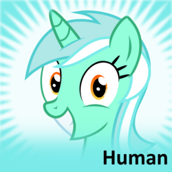 Size: 250x250   Tagged: safe, lyra heartstrings, human, derpibooru, grin, humie, irrational exuberance, meta, official spoiler image, solo, spoilered image joke, that pony sure does love humans