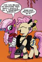 Size: 318x469 | Tagged: safe, cheerilee, mayor mare, idw, spoiler:comic, 80s, 80s cheerilee, 80s mayor mare, braces, clothes, dress, irony, non-dyed mayor, shoes, skirt, younger
