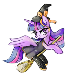 Size: 800x900 | Tagged: alicorn, artist:kaji-tanii, broom, clothes, female, flying, flying broomstick, hat, lidded eyes, looking back, mare, pony, safe, simple background, smiling, solo, spread wings, stockings, transparent background, twilight sparkle, twilight sparkle (alicorn), witch, witch hat