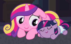 Size: 4320x2700 | Tagged: safe, artist:beavernator, princess cadance, twilight sparkle, pony, all glory to the beaver grenadier, baby, baby pony, babylight sparkle, beavernator is trying to murder us, cute, cutedance, diaper, filly, foal, sleeping, twiabetes