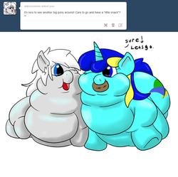 Size: 500x498 | Tagged: safe, artist:watertimdragon, oc, oc only, oc:cocoa mountain, oc:jester bells, ask, cookie, fat, morbidly obese, obese, tumblr