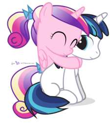 Size: 660x720   Tagged: safe, artist:dm29, princess cadance, shining armor, alicorn, pony, unicorn, colt, colt shining armor, cute, cutedance, duo, eyes closed, female, filly, filly cadance, hug, hug from behind, julian yeo is trying to murder us, male, shining adorable, simple background, sitting, smiling, transparent background, vector, young, younger