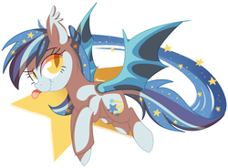 Size: 1999x1475 | Tagged: safe, artist:pepooni, oc, oc only, oc:star struck, bat pony, pony, :p, flying, silly, solo, tongue out